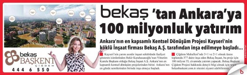 Bekaş'tan Ankara'ya 100 Milyonluk Yatırım
